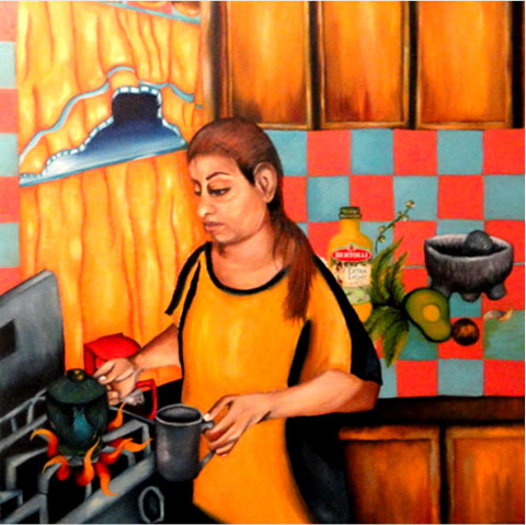 Olga Escobedo painting of Curandera at stove