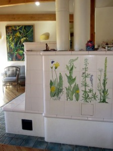 Kachelofen with view of Sierra Wildflower Tiles by Mary P Williams