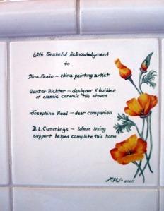 Kachelofen Dedication Tile by Mary P Williams