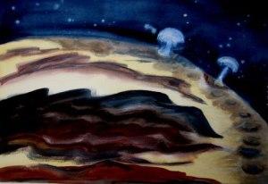 "Titan, watercolor, 22"" x 30"""