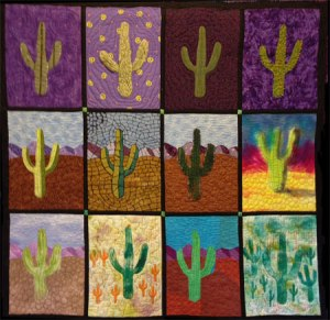 Saguaro Journey, and art quilt by Mary Fitzgibbons