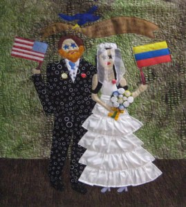 One Love, an art quilt, by Mary Fitzgibbons