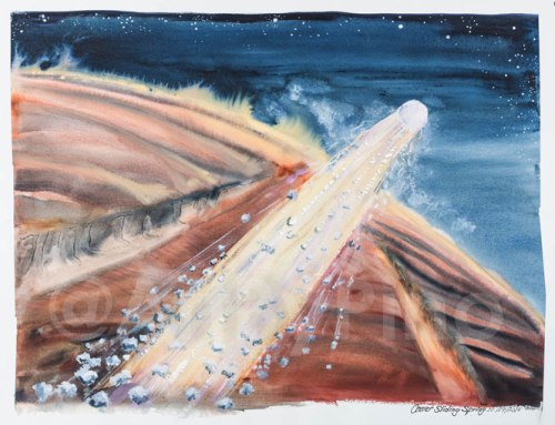 Comet Sliding Spring Passes Mars, 2014, by Mary P Williams. Framed (metal) with double matting $900