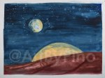 Mars with Two Moons, by Mary P. Williams. Framed (metal) with double matting $800
