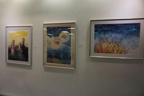 Inside. My paintings on display