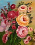 Lucy's Painting of Hollyhocks and Roses